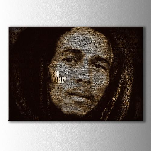 Bob Marley Tipografik Kanvas Tablo