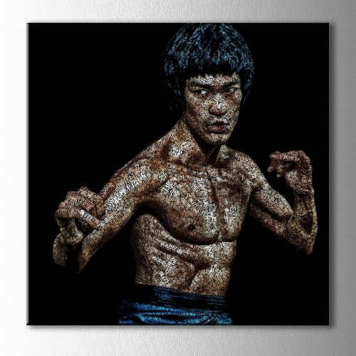 Bruce Lee Tipografik Kare Kanvas Tablo
