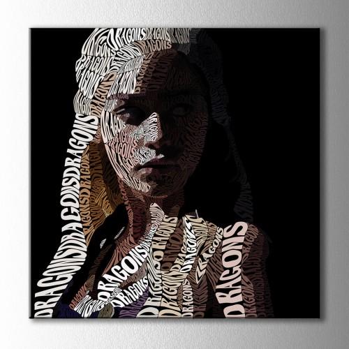 Khaleesi Tipografik Kare Kanvas Tablo