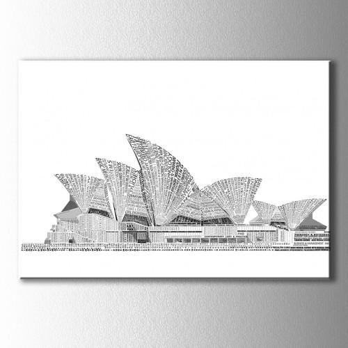Sydney Opera House Tipografik Kanvas Tablo