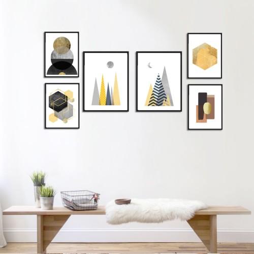 Geo Altın Siyah Poster Set