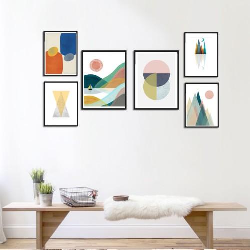 İskandinav Geo Soft Tonlar Poster Set