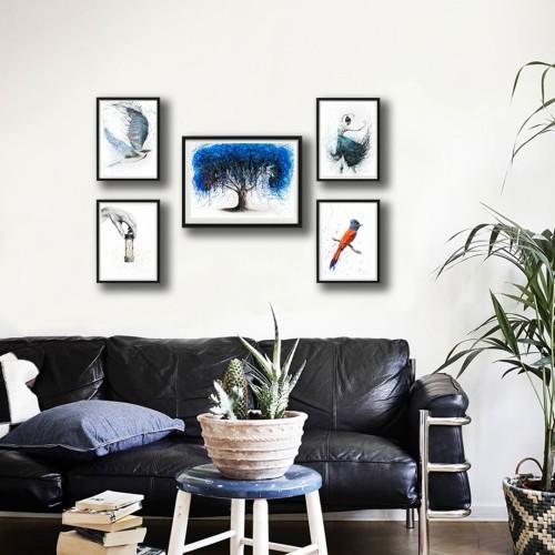 Mavi Ağaç Çerçeveli Poster Seti