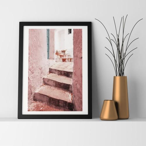 Pembe Merdiven Çerçeveli Poster