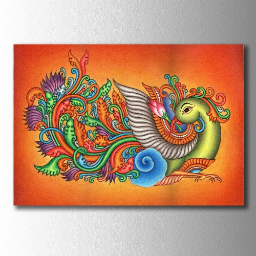 Etnik Desenli Kuş Kanvas Tablo
