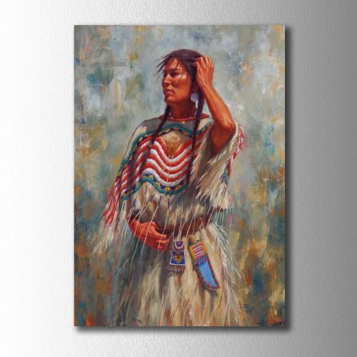 Yağlı Boya Görünümlü Kızılderili Kız Kanvas Tablo