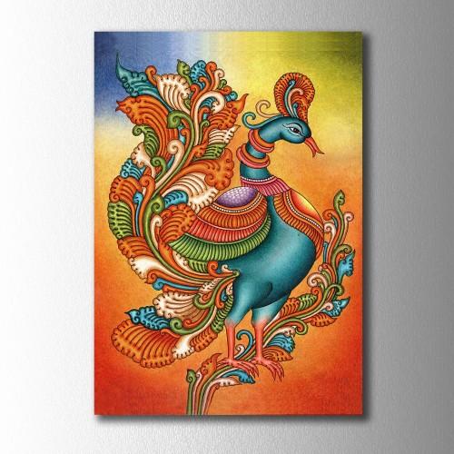 Özel Çizim Etnik Desenli Kuş Kanvas Tablo