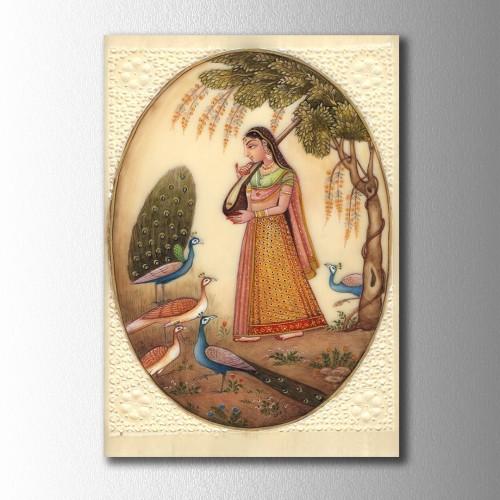 Özel Çizim Kızılderili Adam  Kanvas Tablo