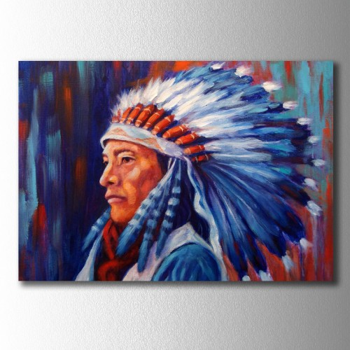 Mavi Fon Kızılderili  Kanvas Tablo