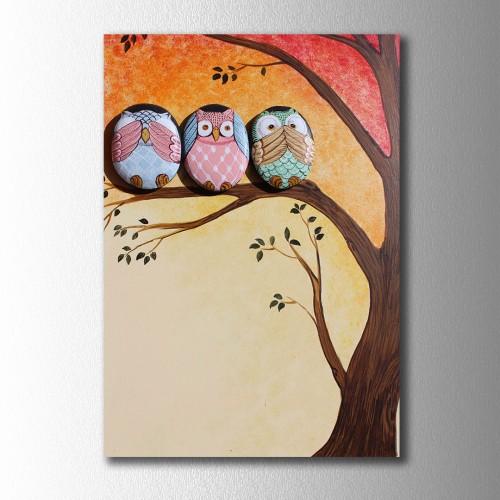 Ağaçtaki Baykuşlar Kanvas Tablo