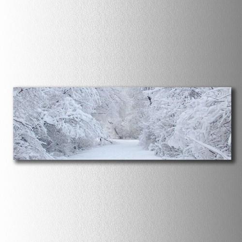 Karlı Ağaçlar Panaromik Kanvas Tablo