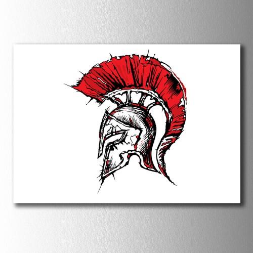 Spartan Miğfer Kanvas Tablo