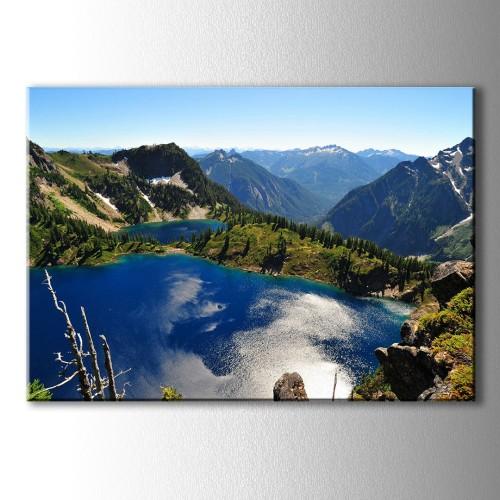 Dağ İçinde Mavi Göller Kanvas Tablo