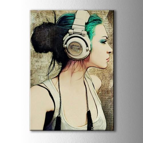 Yeşil Saçlı Çizim Kulaklıklı Kız Kanvas Tablo