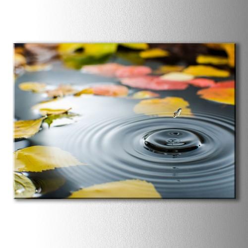 Sarı Yapraklar ve Su Damlası Kanvas Tablo