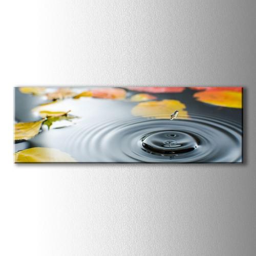 Panaromik Sarı Yapraklar ve Su Damlası Kanvas Tablo