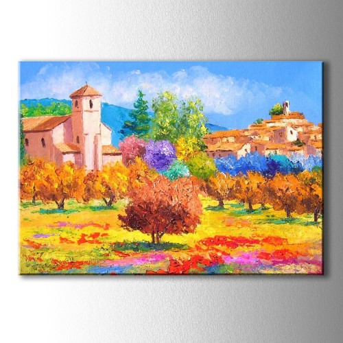 Yağlı Boya Görünümlü Ev ve Sarı Ağaçlar Kanvas Tablo