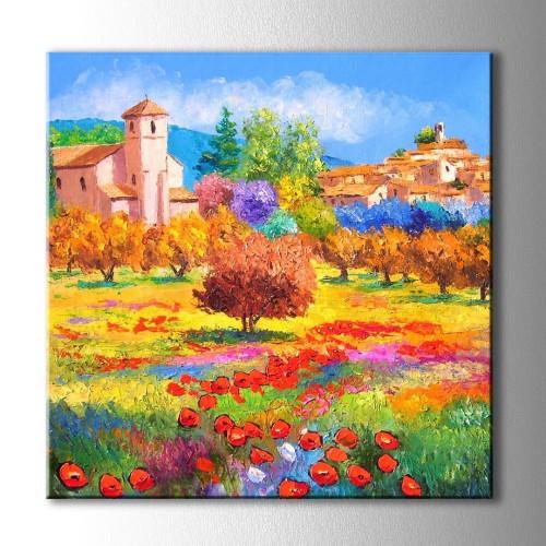 Yağlı Boya Görünümlü Ev ve Sarı Ağaçlar Kare Kanvas Tablo