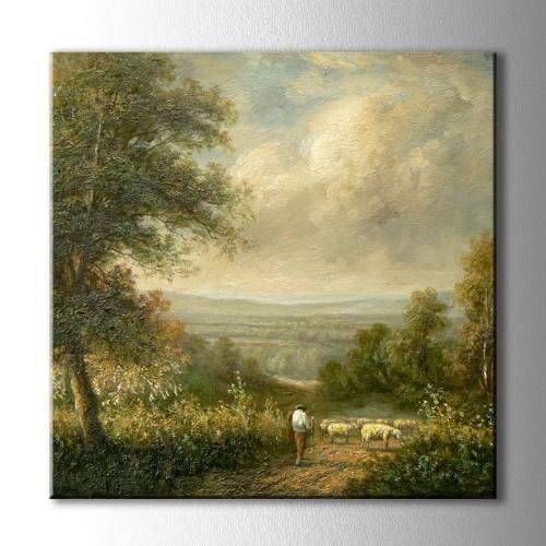 Yağlı Boya Görünümlü Çoban ve Koyunlar Kare Kanvas Tablo
