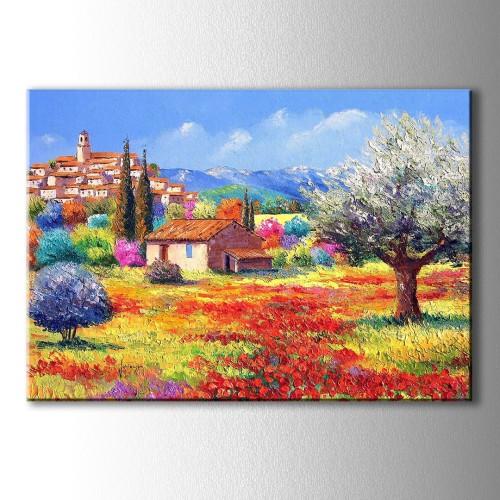 Yağlı Boya Görünümlü Kırmızı Sarı Çiçekler Kanvas Tablo