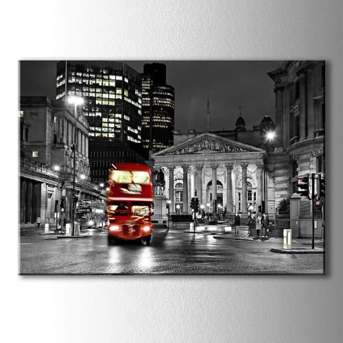 Dekoratif Kırmızı Otobüs Kanvas Tablo