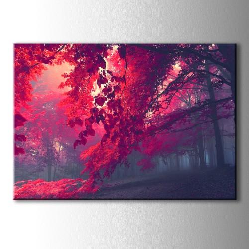 Özel Kızıl Yapraklar Dekoratif Kanvas Tablo