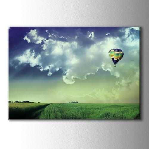 Özel Dekoratif Balon Manzara Kanvas Tablo
