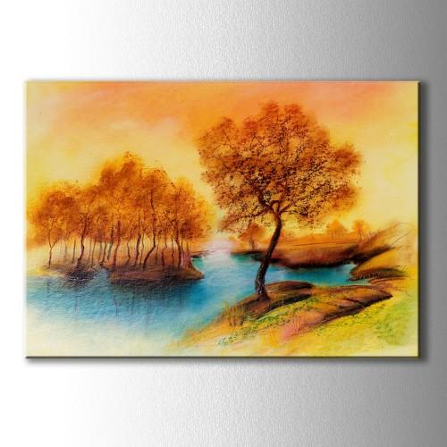 Dekoratif Sarı Yağlı Boya Manzara Kanvas Tablo