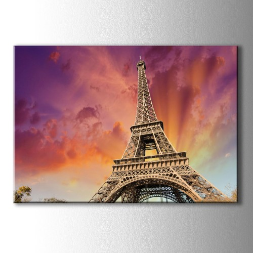 Kırmızı Bulut Eyfel Kulesi Kanvas Tablo