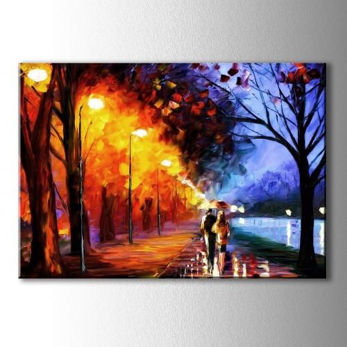 Yağmurlu Gece Yağlı Boya Görünümlü Kanvas Tablo