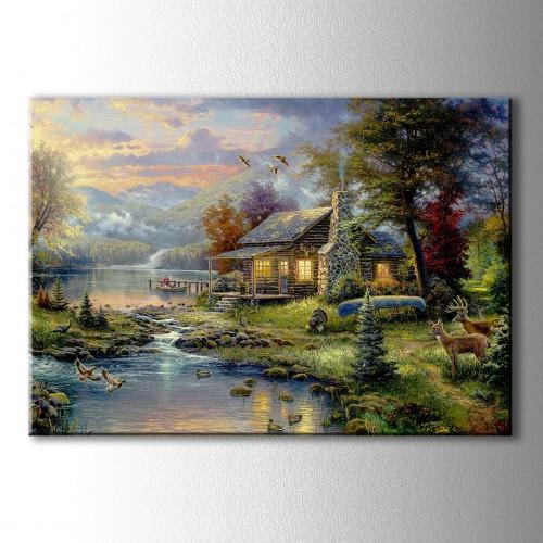Göl Evi Yağlı Boya Görünümlü Kanvas Tablo