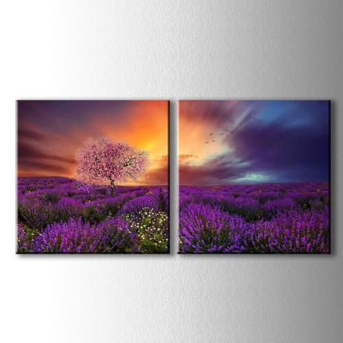 2 Parçalı Çiçek Açan Ağaç ve Lavantalar Kanvas Tablo