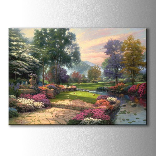 Çiçekli Bahçe Yağlı Boya Görünümlü Kanvas Tablo