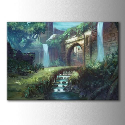 Çizim Şato Kapısı ve Köprü Kanvas Tablo