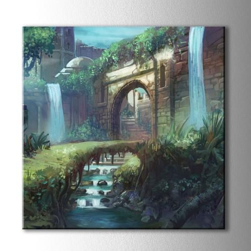 Çizim Şato Kapısı ve Köprü Kare Kanvas Tablo