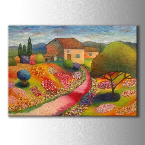 Yağlı Boya Görünümlü Renkli Çiçekler Kanvas Tablo