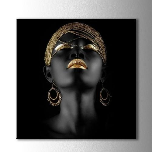 Altın ve Siyahi Kadın Kare Kanvas Tablo