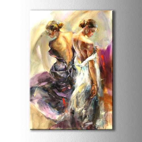Yağlı Boya Görünüm Kadın Yansıma Kanvas Tablo