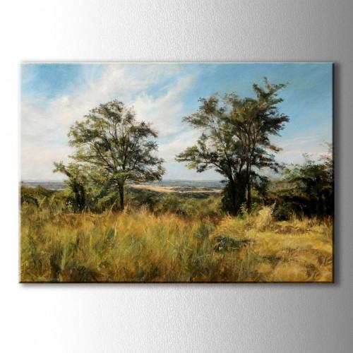Yağlı Boya Görünümlü İki Ağaç Kanvas Tablo