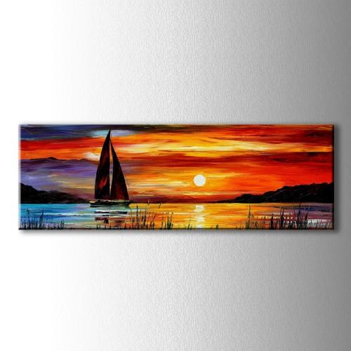 Panaromik Yağlı Boya Görünümlü Yelkenli Kanvas Tablo