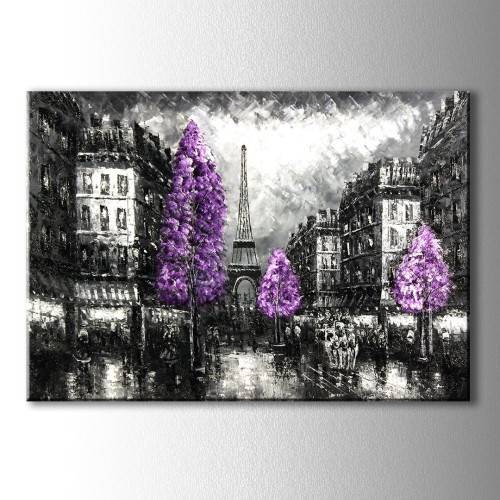 Mor Ağaç Paris Yağlıboya Görünümlü Kanvas Tablo
