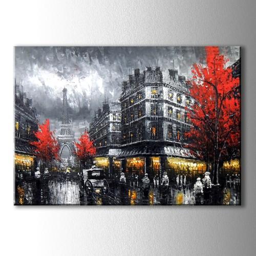 Kırmızı Ağaçlı Paris Kanvas Tablo