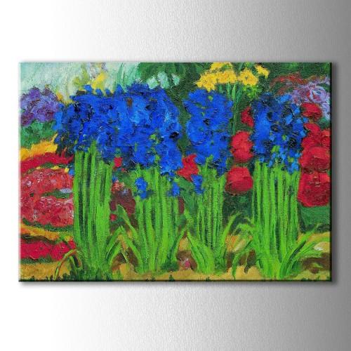 Yağlı Boya Görünümlü Mavi Sümbüller Kanvas Tablo
