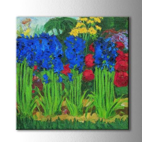 Yağlı Boya Görünümlü Mavi Sümbüller  Kare Kanvas Tablo