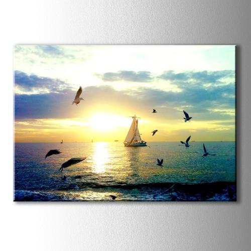 Martılar ve Yelkenli Kanvas Tablo