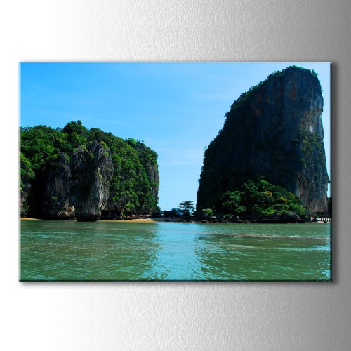 Ada ve Büyük Kayalık Kanvas Tablo