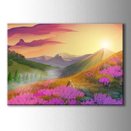 Yağlı Boya Görünümlü Dağ Manzarası ve Pembe Çiçekler Kanvas Tablo