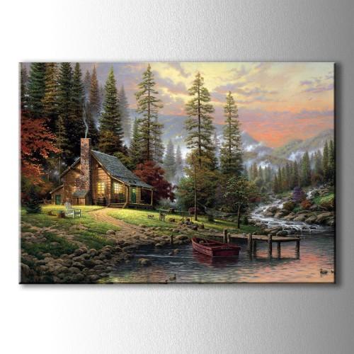 Özel Dekoratif Dağ Evi Kanvas Tablo