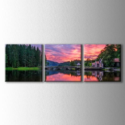 3 Parçalı Kızıl Güneş ve Köprü Kanvas Tablo