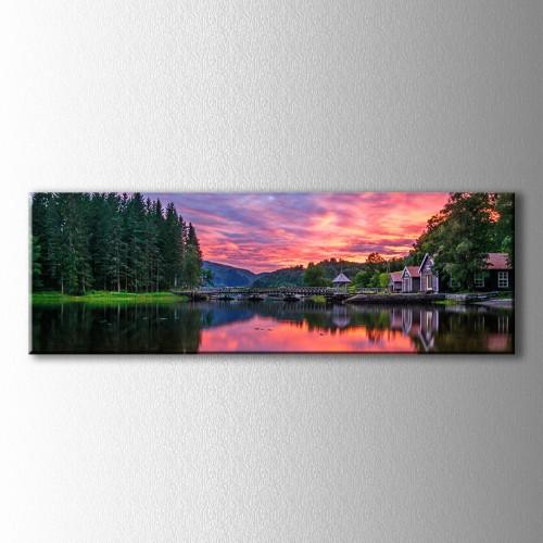 Panaromik Kızıl Güneş ve Köprü Kanvas Tablo